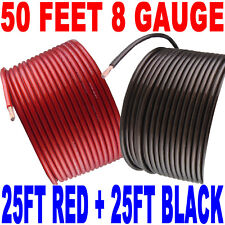 8 AWG SPEAKER WIRE 25 FT RED 25 FT BLACK HOOKUP SUB BOX FAST FREE SHIPPING USA