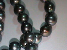 2 (TWO) Full Strands Black Cultured Pearls 7 MM Round Genuine Pearls