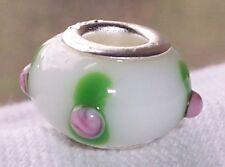 White Pink Roses Flowers Murano Glass Bead for Silver European Charm Bracelet