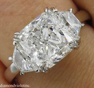 GIA 3.55CT ESTATE VINTAGE CUSHION DIAMOND 3 STONE ENGAGEMENT WEDDING RING PLAT