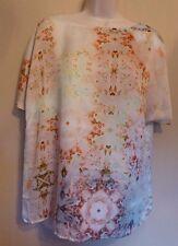Marks & Spencer Autograph UK12 EU40 US8 multi floral satin short-sleeved top