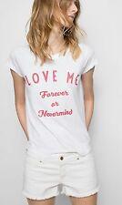NWT ZADIG VOLTAIRE LOVE ME TEE SZ M Skinny Slub Bis T Shirt