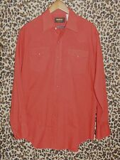 Vintage Roebucks Large L Western Cowboy Shirt solid Red snaps 16-16 1/2