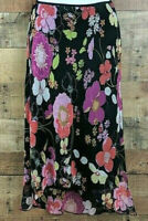 Paper Doll Skirt Flowing Layered Black Midi High Low Floral Size S