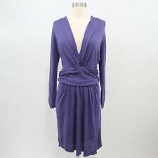Moschino Sweater Dress Silk Cashmere Womens 10 Purple Knit Draped V-Neck Italy