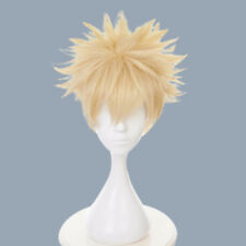 Bakugo Cosplay Yellow Color Wig Afro Handsome Boys Hair My Hero Anime Fans