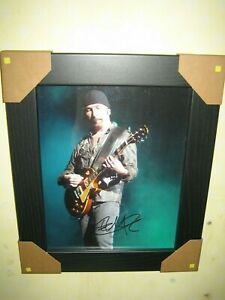 The Edge {U2} David Howell Evans; Excellent Signed Photo {8x10} Framed With CoA