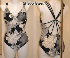 NEW NEXT UK 12 LADIES UNDERWIRED BLACK GREY FLORAL SWIMSUIT SWIMMING COSTUME
