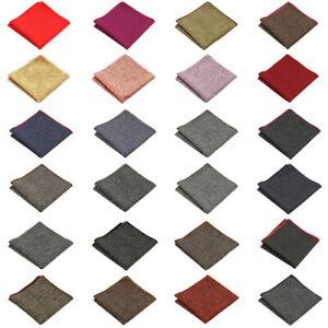 Men Solid Color Wool Cotton Pocket Square Wedding Party Handkerchief Hanky NEW