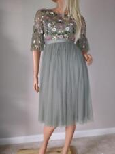 new NEEDLE AND THREAD tulle sequin ruffle sleeve dress us 0 xs green long sleev