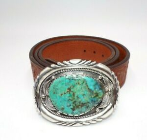 OLD PAWN NAVAJO SIGNED WT LARGE STERLING SILVER TURQUOISE BELT BUCKLE 125 GRAMS