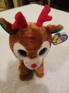 "UWT Rare Ty Beanie Boos Comet Reindeer 6"" Plush Christmas PURPLE TAG FREE S/H"