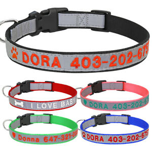 Personalized Dog Collar with Reflective Embroidered Pet Name and Phone Number