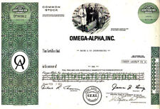 Omega-Alpha, Inc 1975 Stock Certificate