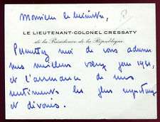 cdv carte de Voeux.Le Lt-Colonel Cressaty à Mr.le Ministre et Maire d'Auxerre