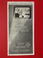 Bord Kino Programm der Hamburg AMERIKA Linie Ball im Metropol von 1937 ( F 17116