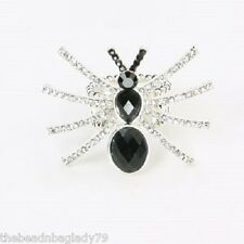 NEW AURORA BOREALIS BLACK CLEAR CRYSTAL SPIDER RING DESIGN Stretchable
