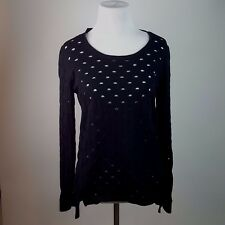 Rock & Republic Womens Slashed Sweater Black Punk Rock Sz M AT32