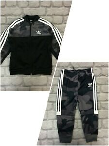 ADIDAS BOYS BLACK HALF CAMO TRACK TOP /TRACK PANTS *SOLD SEPARATELY* CHILDRENS A