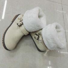 Womens Winter Mid Calf Leather Flat Boots Warm Faux Fur Snow Riding Biker Shoes