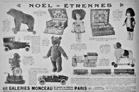 PUBLICITÉ DE PRESSE 1926 JOUETS AUX GALERIES MONCEAUX POUPÉE PELUCHE TRAIN PATHÉ