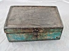 Painted Vintage Hand Crafted Wooden Spice Box Old 6 Compartment Kitchenware Box