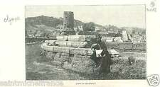 Ruins Philippeion Olympia Olympie Archéa Greece Grèce GRAVURE ANTIQUE PRINT 1893