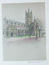 Vecchia stampa vintage da CECIL ALDIN Cattedrale di Gloucester c1924 COLORE stampati
