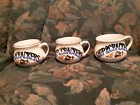 PMC Soup & Crackers Mugs Cups Painted Blue and White Vegetables Set of 3 (Vintag