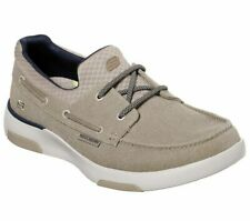 Taupe Wide Fit Skechers Shoe Men Comfort Slip On Casual Canvas Memory Foam 65896