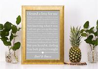 ed sheeran perfect lyric grey personalised gift a4 print valentines anniversary