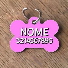 Medaglietta PERSONALIZZATA cane forma di osso NOME telefono rosa