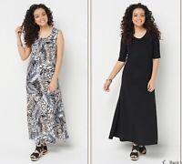 Attitudes by Renee Petite Set of 2 Printed & Solid Maxi Dresses Animal/Black XSP