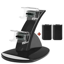 Xbox 360 Controller 2 Battery Dual Charger Charging Docking Station Kit Pack New