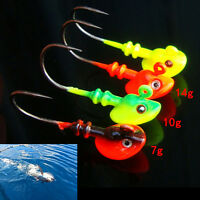 Lead Round Jig Head Fishing Lures Baits Hook Fish Tackle 5g/10g/14g ETB