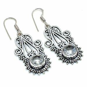 "White Topaz Gemstone Handmade 925 Sterling Silver Jewelry Earring 1.97 "" Z057"