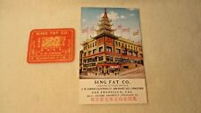 1920's Advertising Trade Postcard & Sticker Sing Fat San Francisco Cathay House