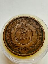 1868  US American 2 Two Cents Coin in Airtight Coin Holder