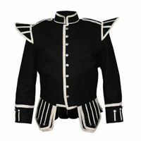 100% Blazer Wool Black Military Piper Drummer Doublet Kilt Jacket Custom Made