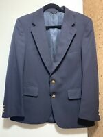 Aquascutum men LONDON blazer jacket size 39R dark blue wool 2 button Authentic