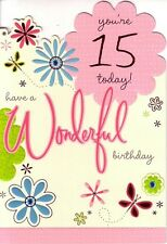 15th Birthday Card - Age 15 Girls - Fifteen Butterfly Flowers