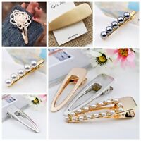 Fashion Women Pearl Hair Clip Metal Side Bangs Hairband Comb Flower Barrette New