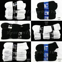 Men Women 9-11 & 10-13 Sports Cotton Crew Ankle Low Cut  Socks Lot 4-8-12 PACK