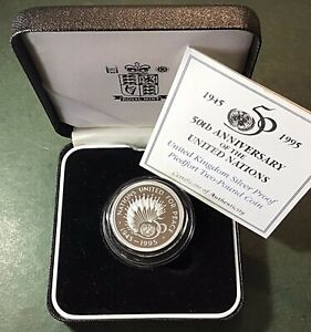 1995 'UN' Sterling Silver Proof 'Piedfort' UK £2, Two Pound, Coin. Cased + COA.