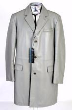 Gianni Versace Versus Leather 3/4 Length Jacket EU54 XL Light Grey RRP £845 Coat