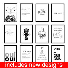 More details for funny bathroom toilet loo quote minimalist wc prints wall art - unframed posters