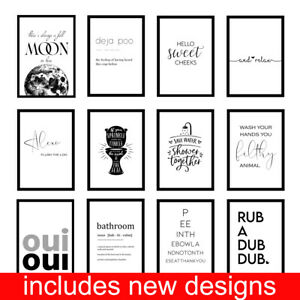 Funny Bathroom Toilet Loo Quote Minimalist WC Prints Wall Art - Unframed Posters