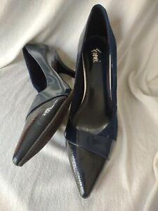 """Fioni Womens High Heels Pumps Size 9 Dark Navy Blue suede/patton leather 3"""" heel"""