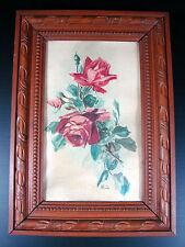 Aquarelle École Française XIX° Roses monogramme ML cadre bois sculpté