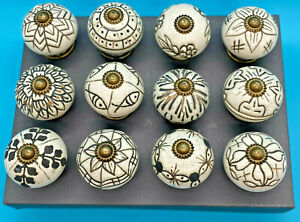 Ceramic Door-Drawer Knobs Beautiful White-Gold Rustic Designs Sold individually